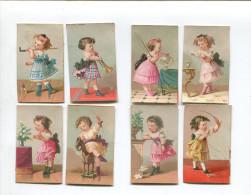 PARIS AU PARADIS DES ENFANTS PERREAU RUE LOUVRE RIVOLI JOUET BEL ENSEMBLE 8 PETITES CHROMOS BOGNARD ENFANT - Trade Cards