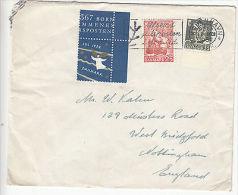 Denmark: Cover From Copenhagen To Nottingham, UK, With Xmas Stamp, 17 Dec 1952 - Denmark