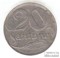 Lettland KM-Nr. : 5 1922 Sehr Schön Nickel Sehr Schön 1922 20 Santimi Wappen - Latvia