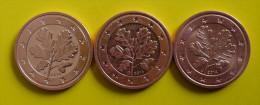 Münzen, EURO, BRD, 2 Cent, 2014 - F,G,J - Deutschland