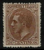 02189 España EDIFIL 203 * Catalogo 176,- - 1875-1882 Reino: Alfonso XII