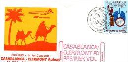 CONCORDE EN AUVERGNE     Enveloppe 1er Vol Concorde Casablanca Clermont Aulnat - Commercial Aviation