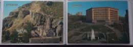 ARMENIA. YEREVAN - 2 Postcard Lot  - COMMUNIST PARTY WORDS / Letters Near Central Committee - Emirati Arabi Uniti