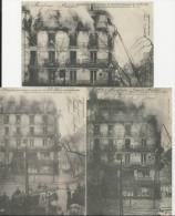PARIS LOT DE 3 CARTES DE L INCENDIE DE LA MAISON LAURETTE 20 FEVRIER ECHELLE DE POMPIERS 1904 - Francia