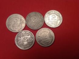 Lot De5 Pieces 2F ALU Donc 2 Rare (voir Scan Et Description) - Munten & Bankbiljetten