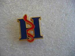 Pin´s Lettre H Caducé Rouge - Medical