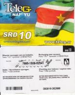 """SURINAM - Flag, Naf""""Yu, TeleG Prepaid Card SRD 10, Used"""