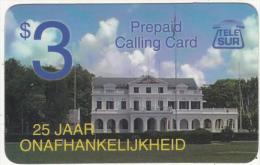 SURINAM - 25 Jaar Onafhankelijkheid, TeleSur Prepaid Card $3, Used