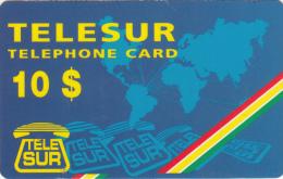 SURINAM - Blue Card, TeleSur Prepaid Card $10(thin Plastic), Used