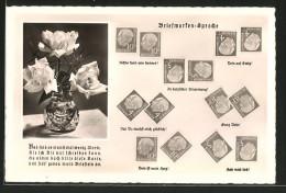 CPA Briefmarkensprache Der Liebe Avec Rosen In Einer Vase - Timbres (représentations)