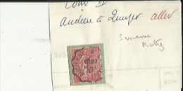 1 Timbre Semeuse (Roty) 10 Cts __Tampon Convoyeur-Audierne-Quimper-Aller - Marcophily (detached Stamps)