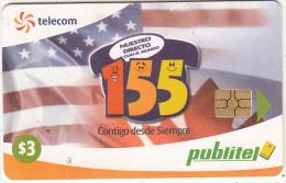 EL SALVADOR - 155, American Flag, Chip GEM3.3, Used - Salvador