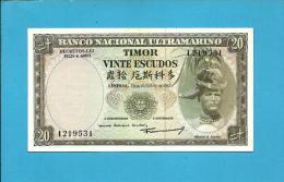 TIMOR - 20 ESCUDOS - 24.10.1967 - UNC - P 26 - Sign. 7 - 7 Digit - REGULO D. ALEIXO - PORTUGAL - Timor