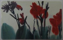 Taiwan Telephone IC Card IC00C001 Painting Culture Canna Flower Flora - Taiwan (Formosa)