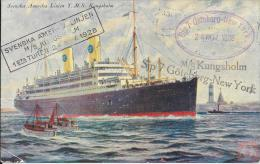 Suède - Carte Postale PAQUEBOT - KUNGSHOLM - Posted On Board 1928 - Voyage Inaugural - Stockholm - Paquebots