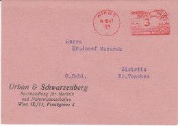 Freistempel Aus Wien 14.10.43 Nach Bistritz Kr. Teschen - Briefe U. Dokumente