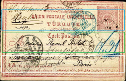 Ottoman Empire,postal Stationery,from Galata,8.5.1899 To Paris,11.5.1899 Resend To Berlin13.5.1899+14.5.1899,RR,see Scan - 1858-1921 Empire Ottoman