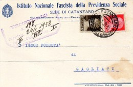 Cartolina Postale Pubblicitaria Commerciale 1938 CATANZARO IST. NAZ. FASCISTA PREVIDENZA - 1900-44 Victor Emmanuel III