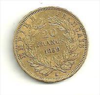 20F Or Napoléon III Tête Nue 1859 A - L. 20 Francs