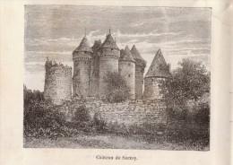 1885 - Gravure Sur Bois - Sarzay (Indre) - Le Château - FRANCO DE PORT - Stampe & Incisioni