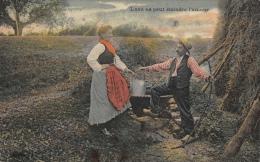 Série De 5 Cartes Dont Attelage Boeufs, Loge De Charbonniers, Chargement Du Charbon De Bois, .......(quelques Défauts) - Agriculture