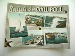 SALUTI   DA GALLIPOLI      LECCE  VIAGGIATA  COME DA FOTO ACQUERELLATA  BOLLO RIMOSSO - Lecce