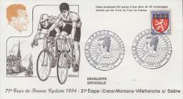 Enveloppe  21éme  Etape  Du  TOUR  DE  FRANCE   CYCLISTE   VILLEFRANCHE  SUR  SAONE   1984 - Ciclismo