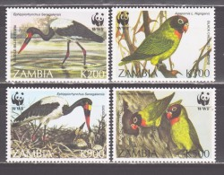 Zambia 1996 Sambia Mi 656-659 WWF. Worldwide Conservation: Parrots, Long-legged Wading Birds / Vögel **/MNH - W.W.F.