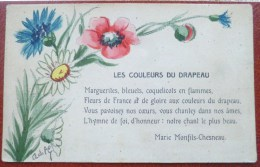 Litho Aquarelle Illustrateur Signé LANGAGE COULEURS Du Drapeau FRANCE Francais POEME Marie Monfils-chesneau  H.L. - Blumen