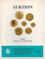 Auktion - Zürich - 17-10-1978 - Société De Banque Suisse - Schweizerischer Bankveren - Catalogue De La Vente - Allemand