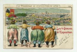 Liege - Expo De 1905 - Panorama -les 4 Graces (gaufrée) - Luik