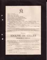 TEMPLEUVE Adolphe DU CELLIER Bourgmestre 55 Ans En 1921 Faire-part Mortuaire - Todesanzeige