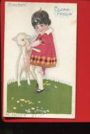 BUONA PASQUA , Illustratore Mauzan  PAQUES ENFANT PETITE FILLE MOUTON AGNEAU - Mauzan, L.A.