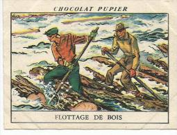 CHROMOS PUPIER - AMERIQUE DU NORD - CANADA - FLOTTAGE DE BOIS. - Chocolat