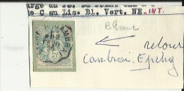 1 Timbre Blanc 5 Cts -( Tampon Convoyeur ) Cambrai--a Epehy _Retour - Poststempel (Einzelmarken)