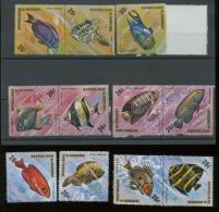1974  Poissons  Vissen  Fishes  **    Dépareillés Aérien  9 Valeurs Sans Défaut - 1970-79: Neufs