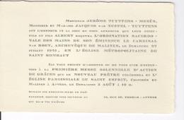 Faire -part D'ordination Et Première Messe D'Albert Van Nuffel Juillet-août 1941 - Faire-part