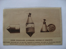 1915 -  Guerre Avition - Bombe Incendiaire Allemande  Démontée  - Coupure De Presse Originale (encart Photo) - Documents Historiques