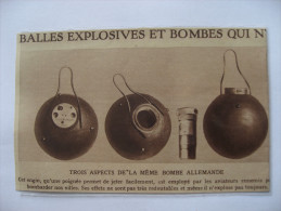 1915 -  Guerre Avition - Bombe Explosive  Allemande  Démontée  - Coupure De Presse Originale (encart Photo) - Documents Historiques