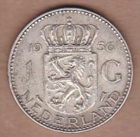 AC - NETHERLANDS - 1 GULDEN 1956 SILVER COIN VF+ - 1948-1980 : Juliana