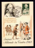 FDC Premier Jour  - Carte Journée Du Timbre 1949 - CHALON Sur SAONE - CHOISEUL - FDC