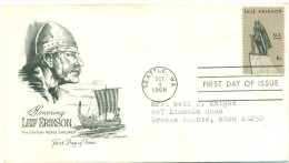 1968 USA Leif Erikson 6c  First Day Cover - Premiers Jours (FDC)