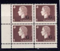 CANADA, 1963, #O46, QUEEN ELIZABETH 11, CAMEO PORTRAIT, M NH,    BLOCK OF 4 - Officials