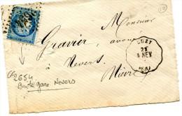 LUZ6Y Nievre Convoyeur Station Ligne 10 AUTUN à NEVERS + GC 2654 Nevers Boîte Gare Sur Devant De Lettre ........G - Poste Ferroviaire