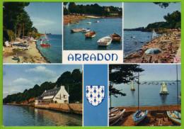 ARRADON - La Plage Le Centre Nautique Devant Le Golfe Du Morbihan Multivues Blason - Arradon