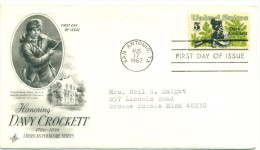 1967 USA Davy Crockett 5c First Day Cover - First Day Covers (FDCs)