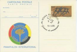 ITALIA - INTERO POSTALE 1980 - PANATHLON INTERNATIONAL - FDC ROMA - Postwaardestukken