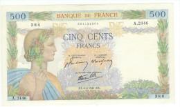 FRANCE 500 F LA PAIX DU 6/2/1941 AVEC 3 TROUS PAS DE DECHIRURE NI DE MANQUE SUP+ - 1871-1952 Anciens Francs Circulés Au XXème