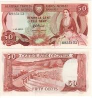 CYPRUS   50 Cents      P49      1.12.1984      UNC - Chypre