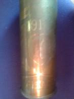Douille D'obus De 75 Mm Gravée Alsace 1917 Fabriquée Le 24 Décembre 1915 - 1914-18